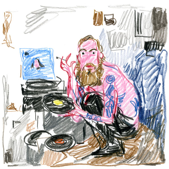 """""""Dash Snow in his Bowery studio"""", after Purple"""