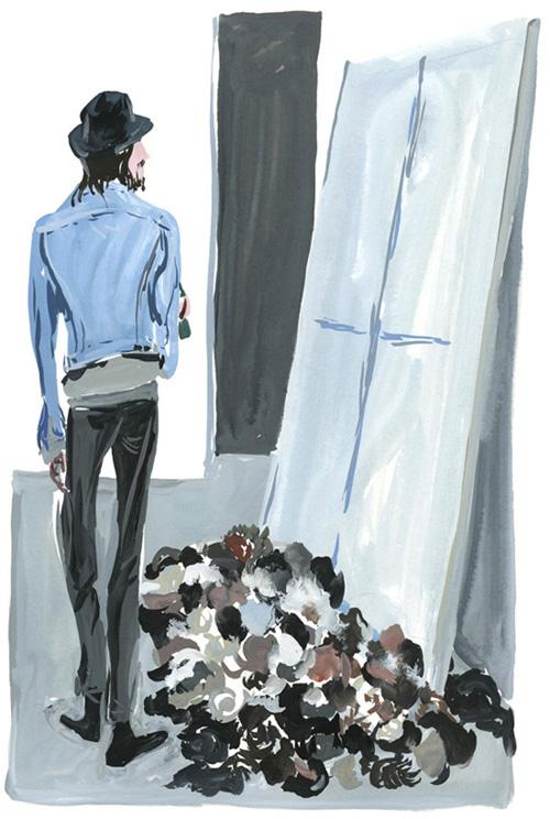 "David Hominal's""Windows"",encaustic on canvas, sheeps wool."