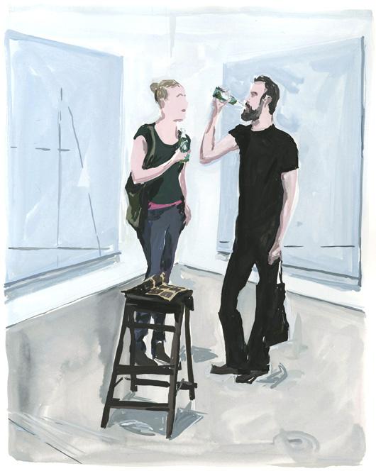 Art lovers savoring works by David Hominal